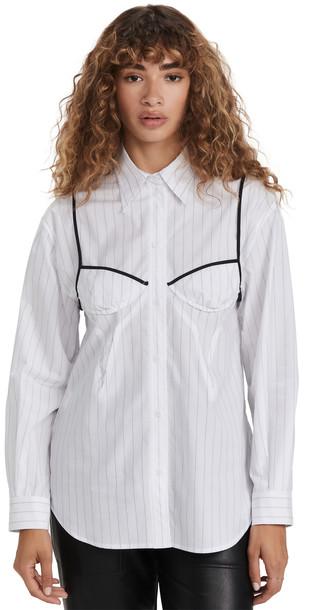 pushBUTTON White Bra Detail Back String Shirt