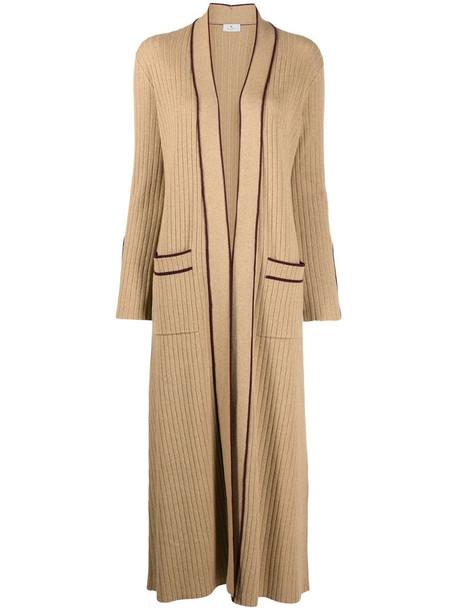 Etro contrast trim cardi-coat in brown