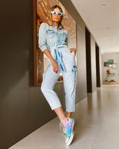 jumpsuit,denim,long sleeves,sneakers,converse