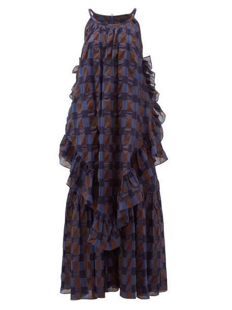 Love Binetti - Jungle Oversized Ruffled Checked-cotton Maxi Dress - Womens - Blue Multi