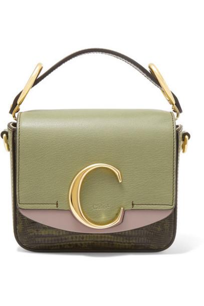 Chloé Chloé - Chloé C Mini Color-block Lizard-effect Leather Shoulder Bag - Green