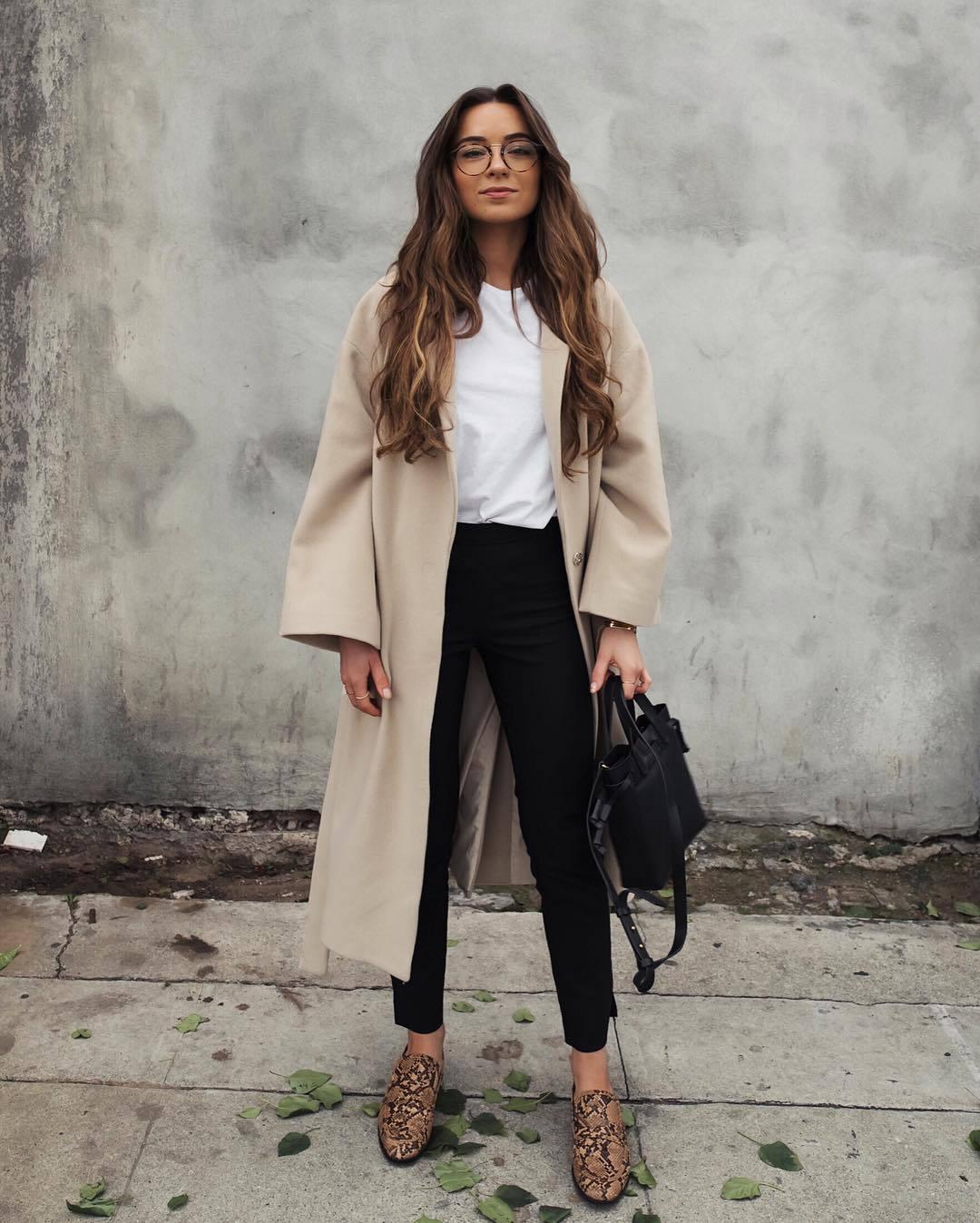bag black bag snake print flats black skinny pants long coat oversized coat white t-shirt