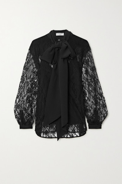 Givenchy - Pussy-bow Cotton-blend Lace And Silk Crepe De Chine Blouse - Black