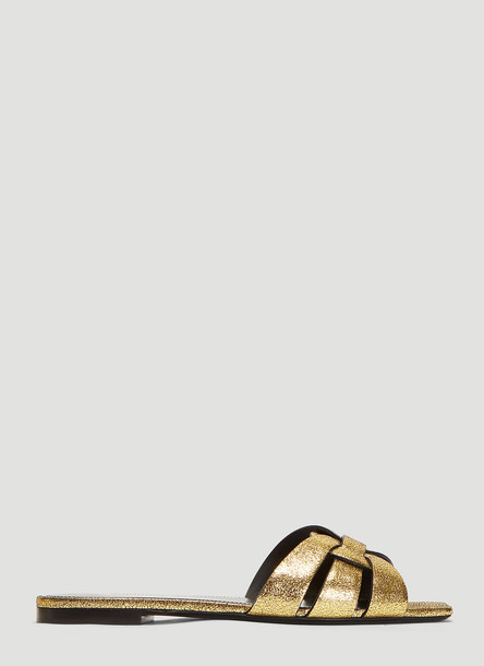 Saint Laurent Evora Slide Sandals in Gold size EU - 36