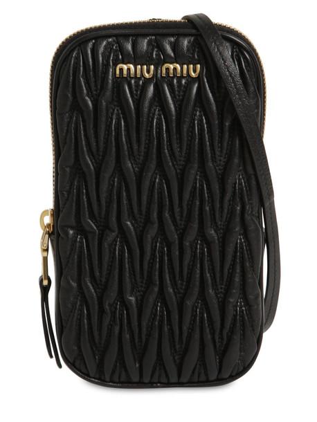 MIU MIU Mini Quilted Leather Shoulder Bag in black