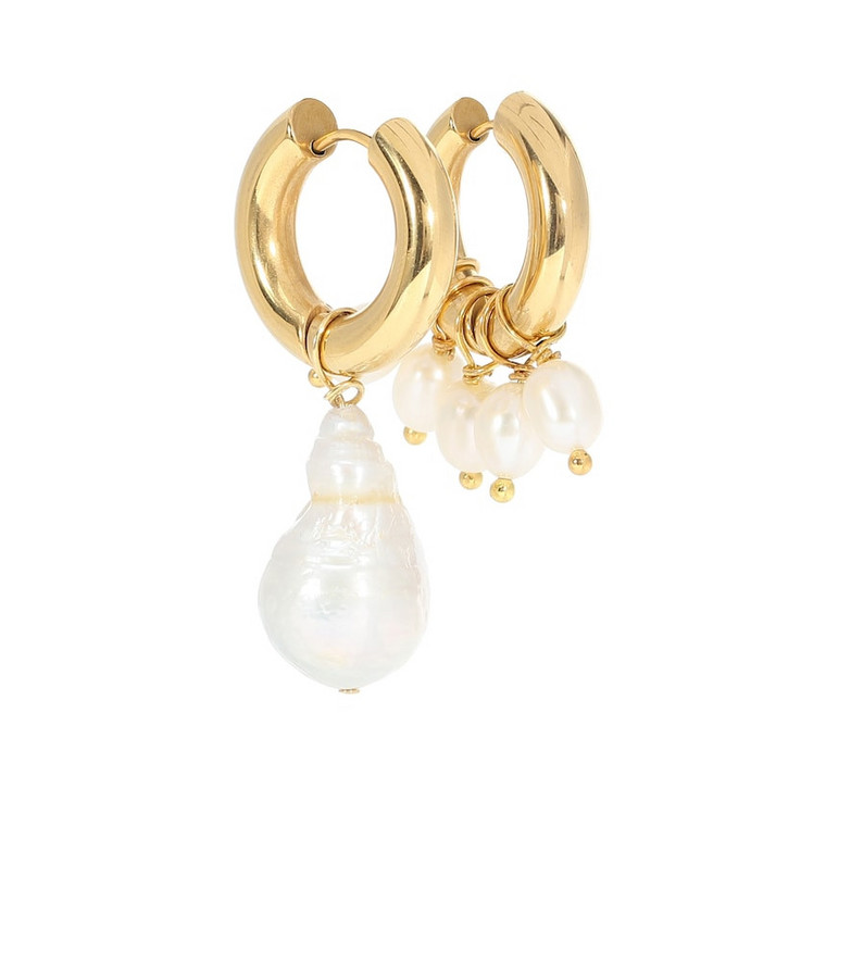 Timeless Pearly Pearl-embellished mismatched earrings in white