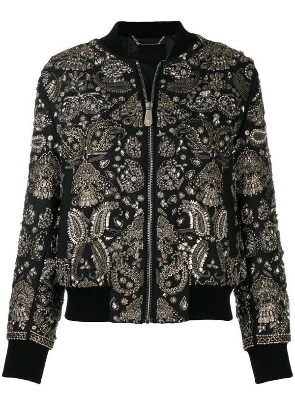 Philipp Plein paisley print bomber jacket in black