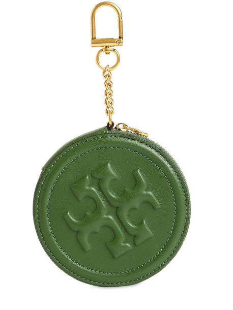 TORY BURCH Flaming Leather Coin Purse in green