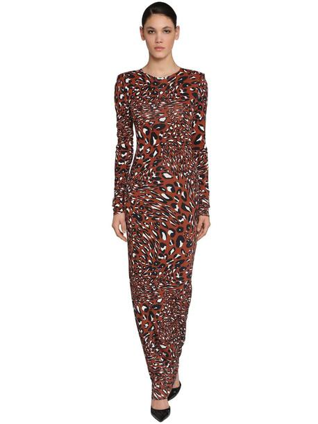 ALEXANDRE VAUTHIER Long Printed Crewneck Jersey Dress