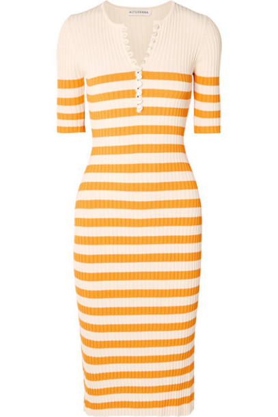 Altuzarra - Sunday Striped Ribbed Stretch-knit Midi Dress - Yellow