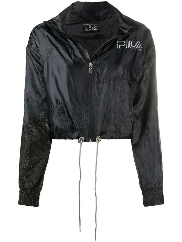 Fila logo-jacquard track jacket in black