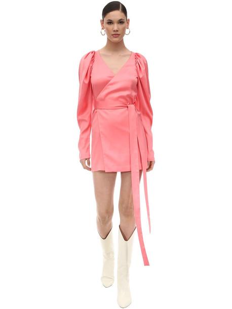 ROTATE Satin Mini Wrap Dress in pink