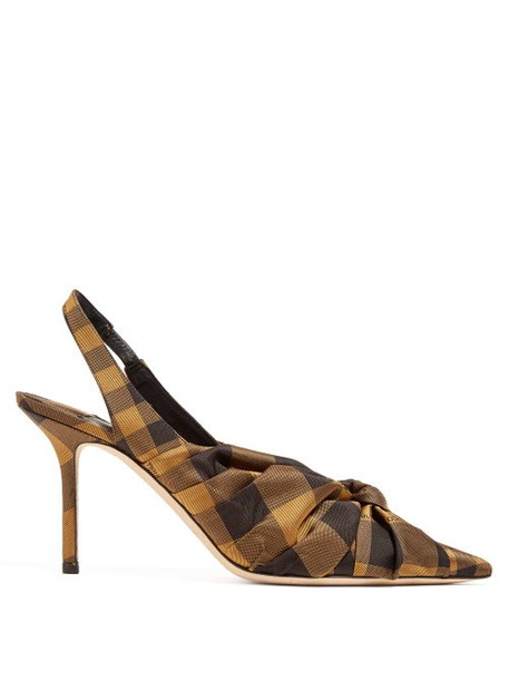 Jimmy Choo - Annabell 85 Check Slingback Pumps - Womens - Black Multi