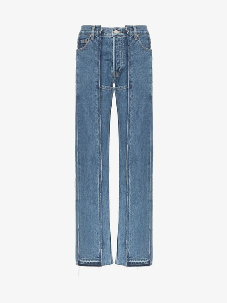 Vetements panelled straight-leg jeans in blue