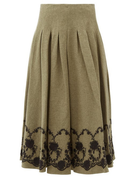 Brock Collection - Floral-embroidered Tweed Midi Skirt - Womens - Khaki