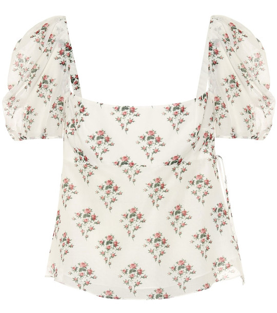 Brock Collection Roseto floral cotton and silk top in white