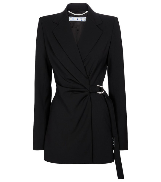 Off-White Belted wool-blend blazer in black