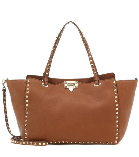 Valentino Garavani Rockstud Medium leather tote in brown