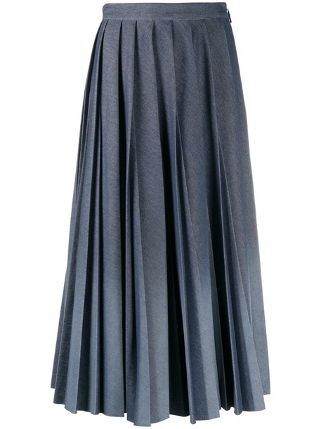 MSGM ombré pleated skirt in blue