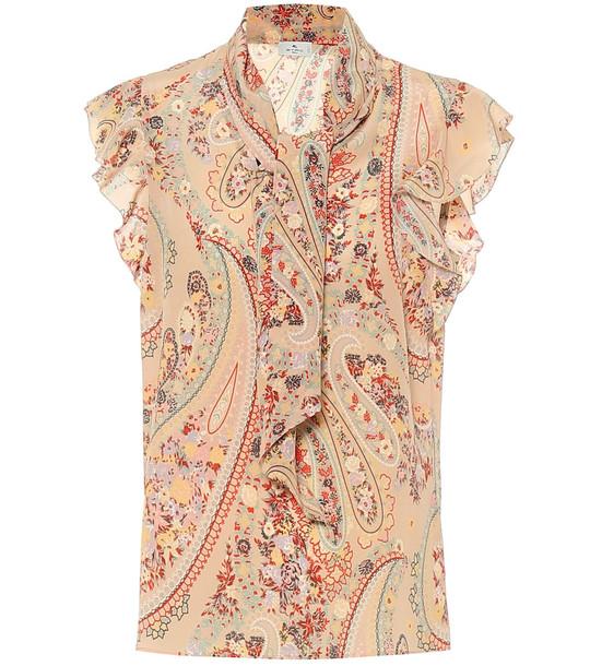 Etro Paisley crêpe-de-chine blouse in beige