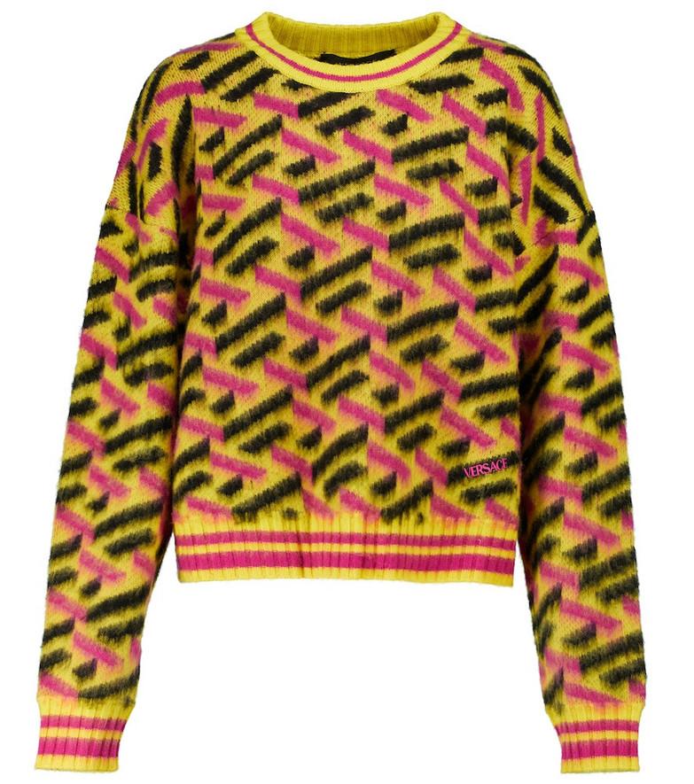 Versace La Greca patterned wool knit sweater