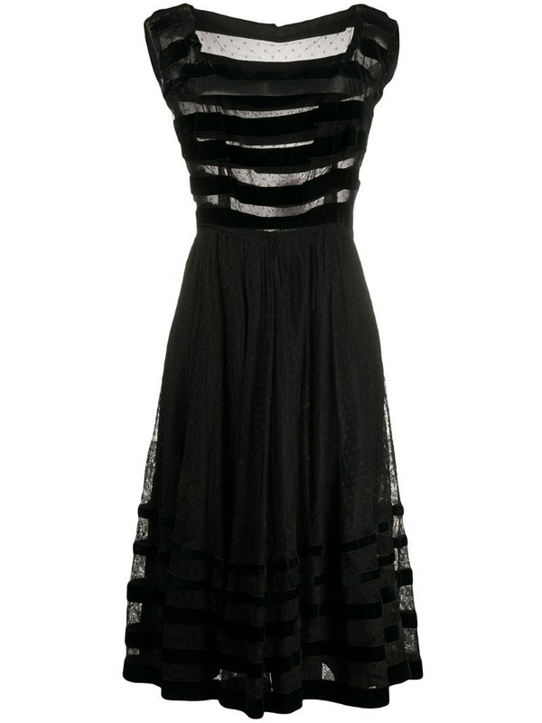 A.N.G.E.L.O. Vintage Cult 1950s sheer panelled lace dress in black