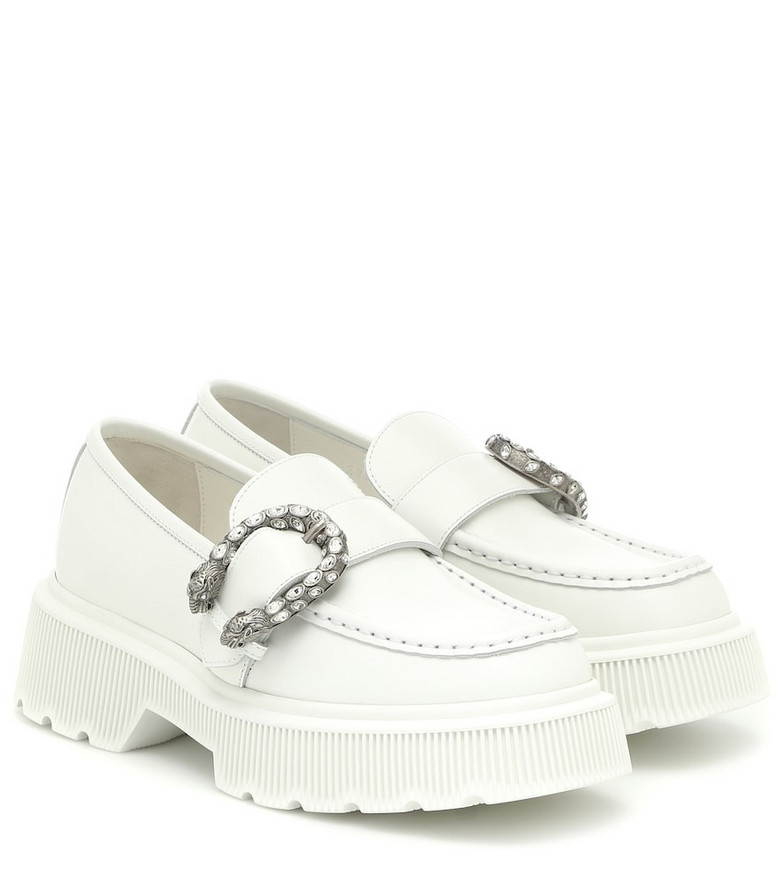 Gucci Embellished leather loafers in white