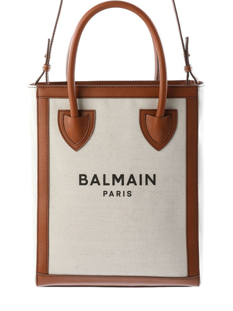 BALMAIN B-army 26 Canvas & Leather Tote Bag in natural