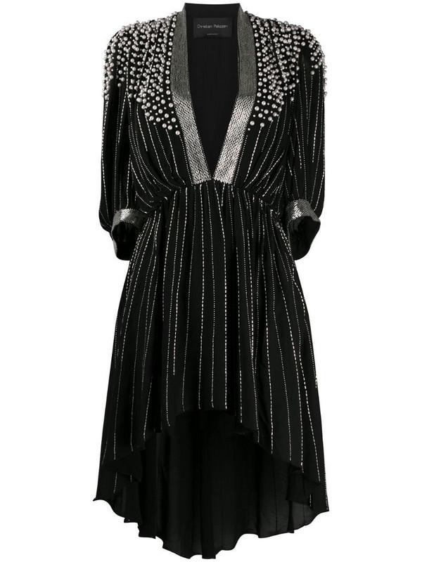 Christian Pellizzari bead-embellished asymmetric dress in black