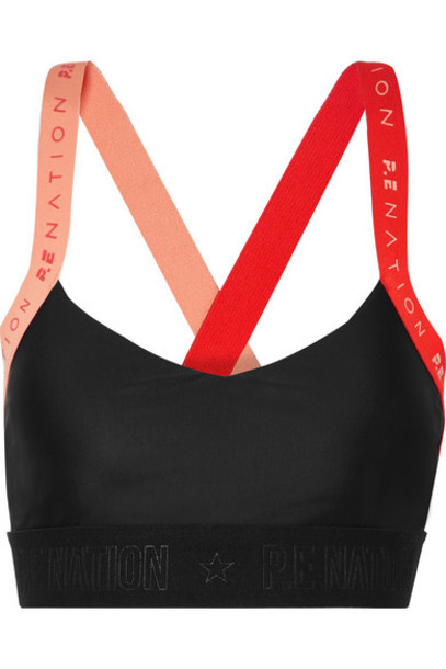 P.E NATION - Overshot Color-block Stretch Sports Bra - Black