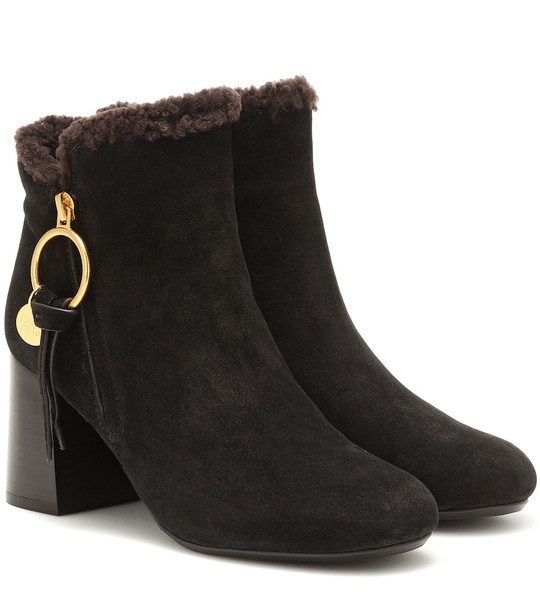 See By Chloé Louise suede ankle boots in black