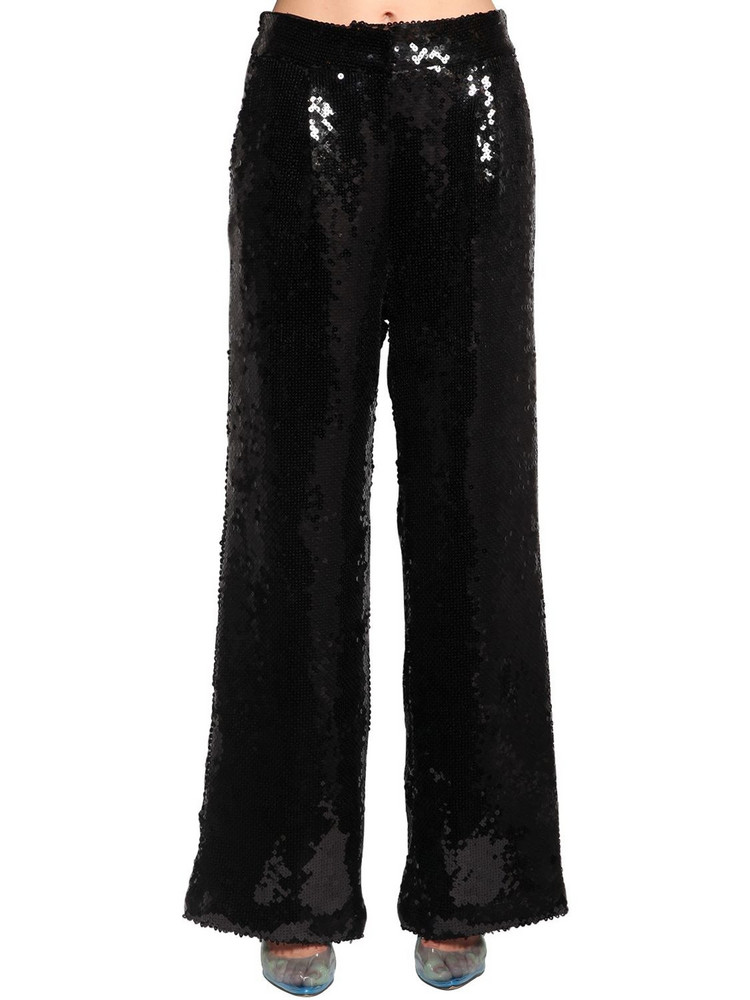 FILLES A PAPA Sequined Wide Leg Pants in black