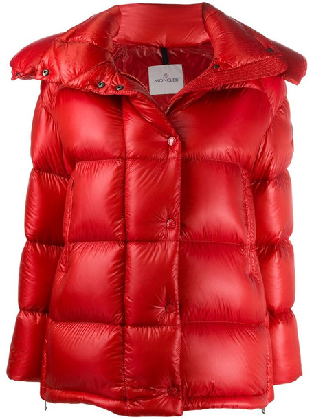 Moncler hooded puffer jacket in red