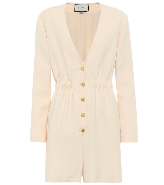 Gucci Wool and silk jumpsuit in beige