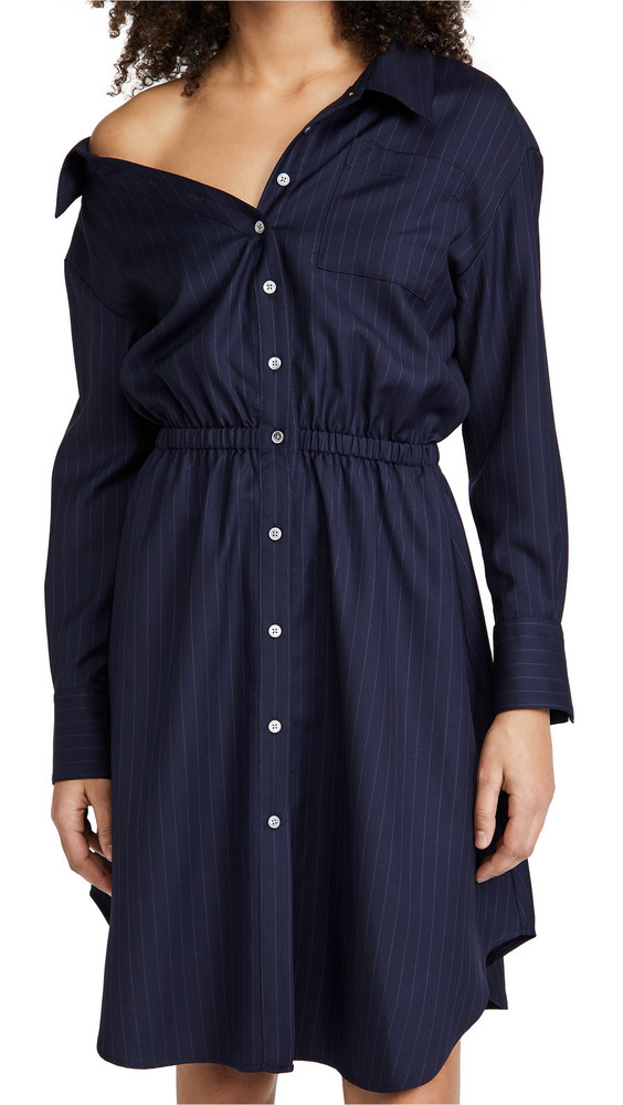 By any Other Name Falling Off Shoulder Mini Dress in navy