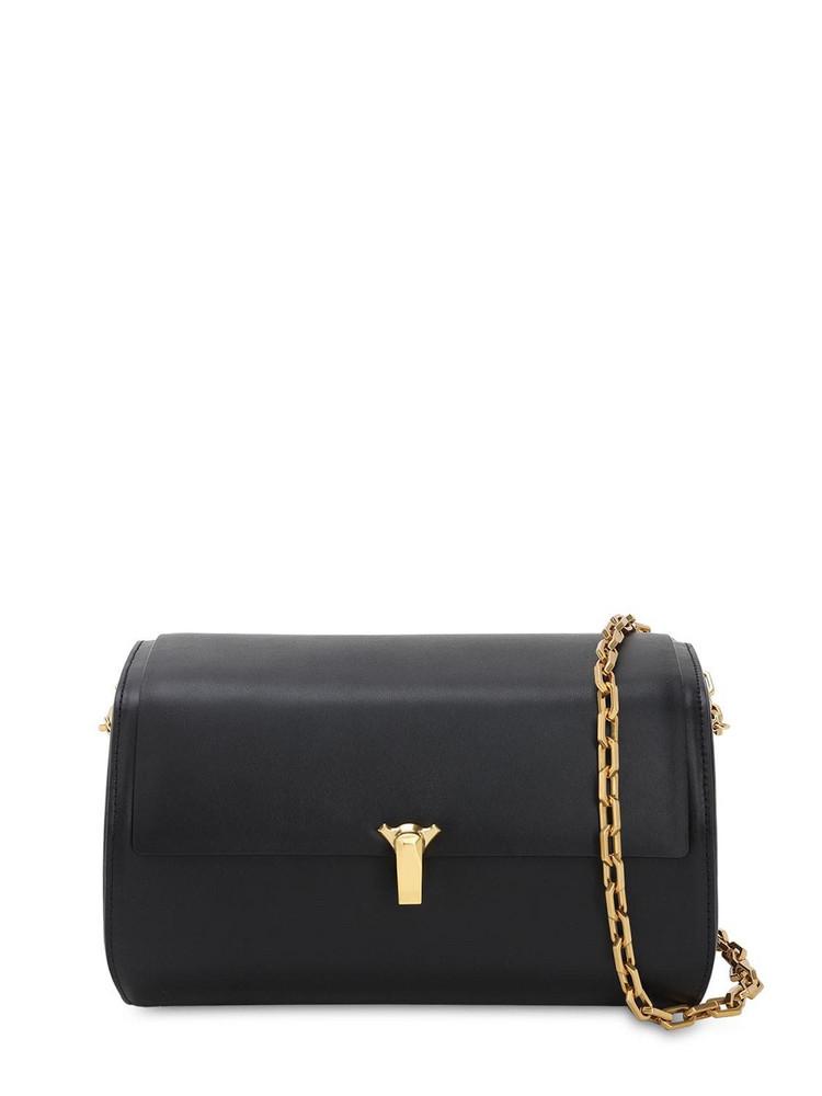 THE VOLON Po B Trunk Leather Shoulder Bag in black