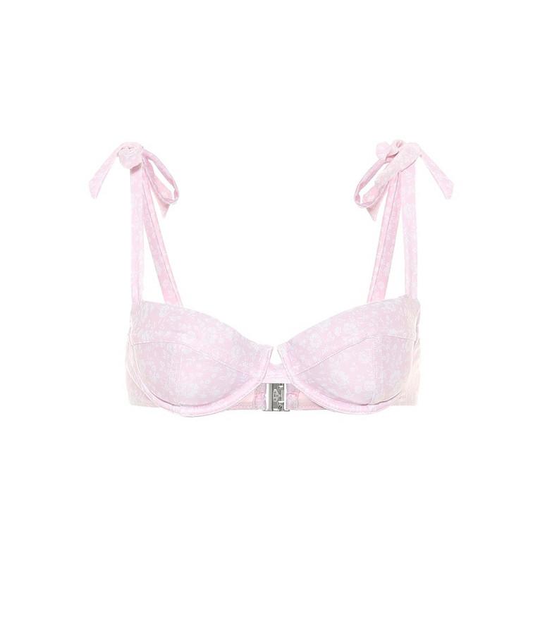 Ganni Floral bikini top in pink