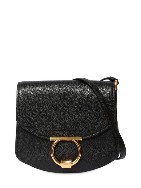SALVATORE FERRAGAMO Margot Grained Leather Shoulder Bag in black