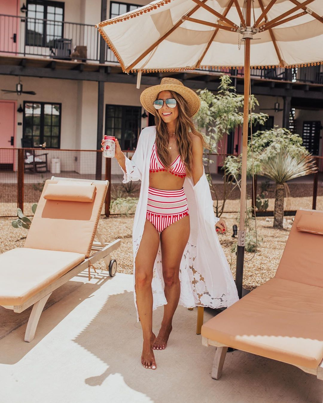 dress cover up swimwear two piece stripes bikini top bikini bottoms high waisted hat