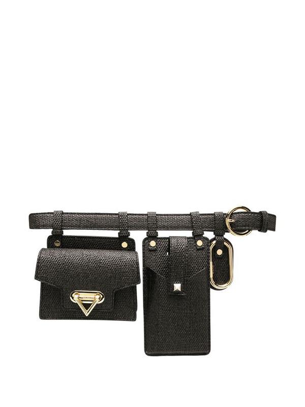 Salar straw weave utility belt bag in black