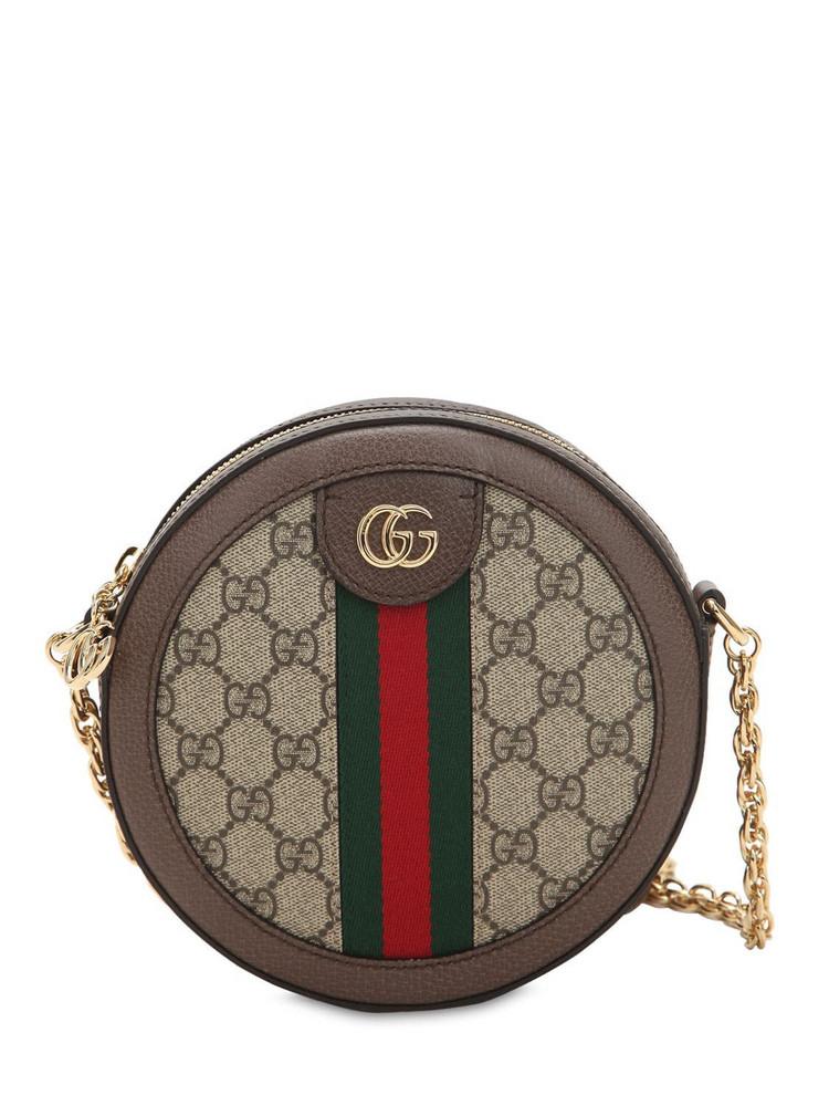 GUCCI Mini Ophidia Gg Supreme Round Bag in taupe
