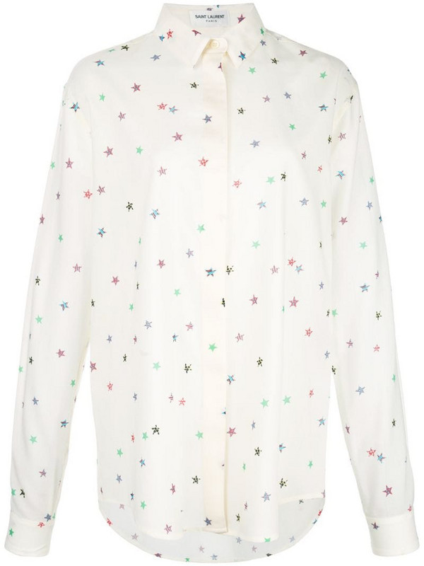 Saint Laurent star-print classic collar shirt in white