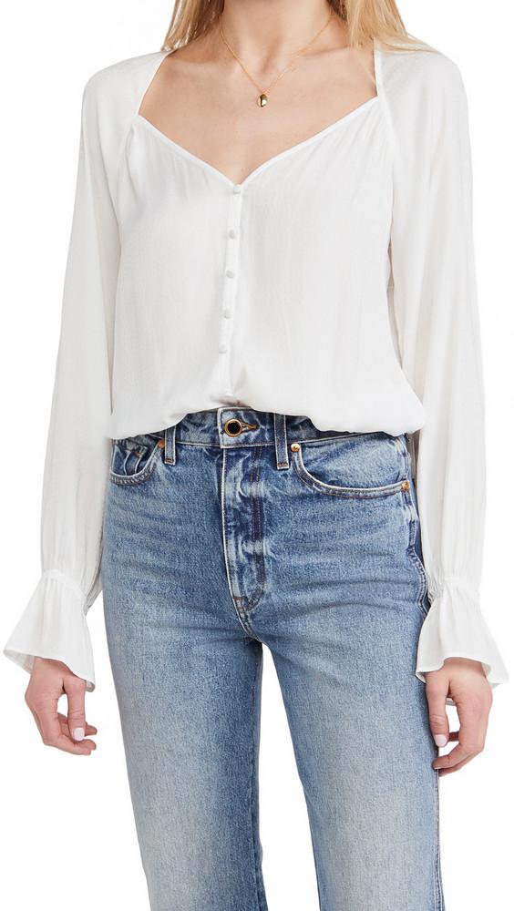 PAIGE Delanie Thong Bodysuit in white