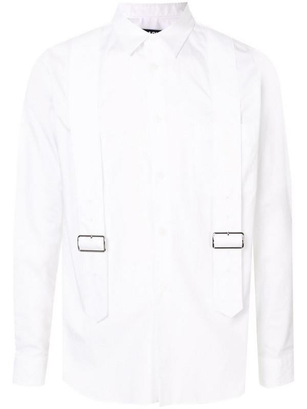 Black Comme Des Garçons double buckle long-sleeved shirt in white