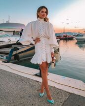 dress,white dress,mini dress,long sleeve dress,pumps,handbag,zimmermann