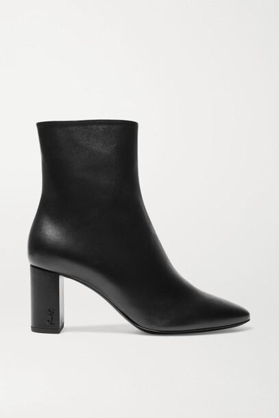 SAINT LAURENT - Lou Leather Ankle Boots - Black