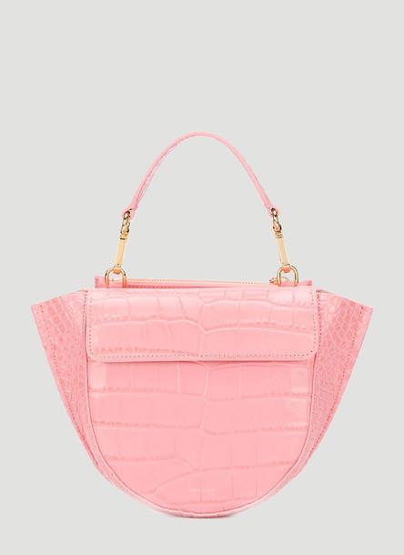 Wandler Hortensia Mini Croc-Embossed Handbag in Pink size One Size