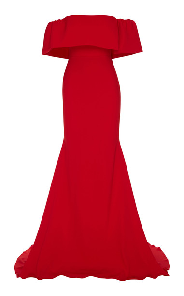Alex Perry Clemente Off-The-Shoulder Satin Crepe Gown in red