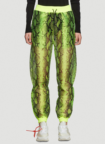 Off-White Neon Python Sheer Track Pants in Yellow size IT - 38