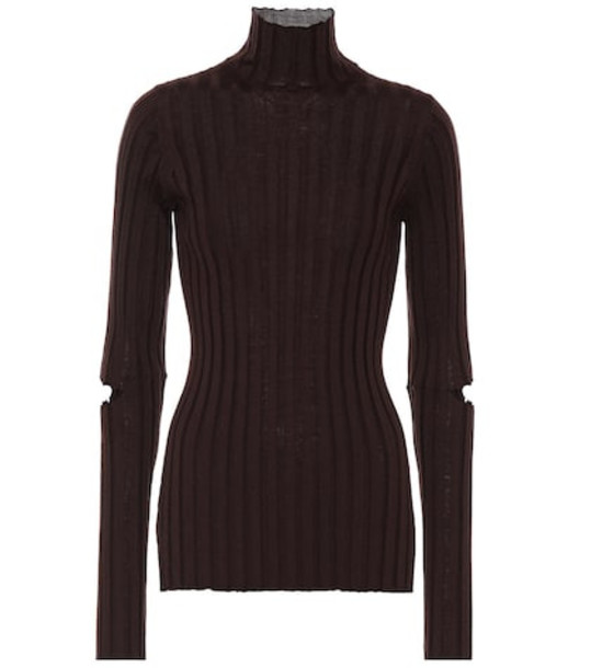Helmut Lang Ribbed turtleneck wool sweater in brown